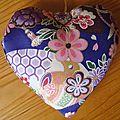 Coeur parfumė en tissu japonais d'Elisabeth T