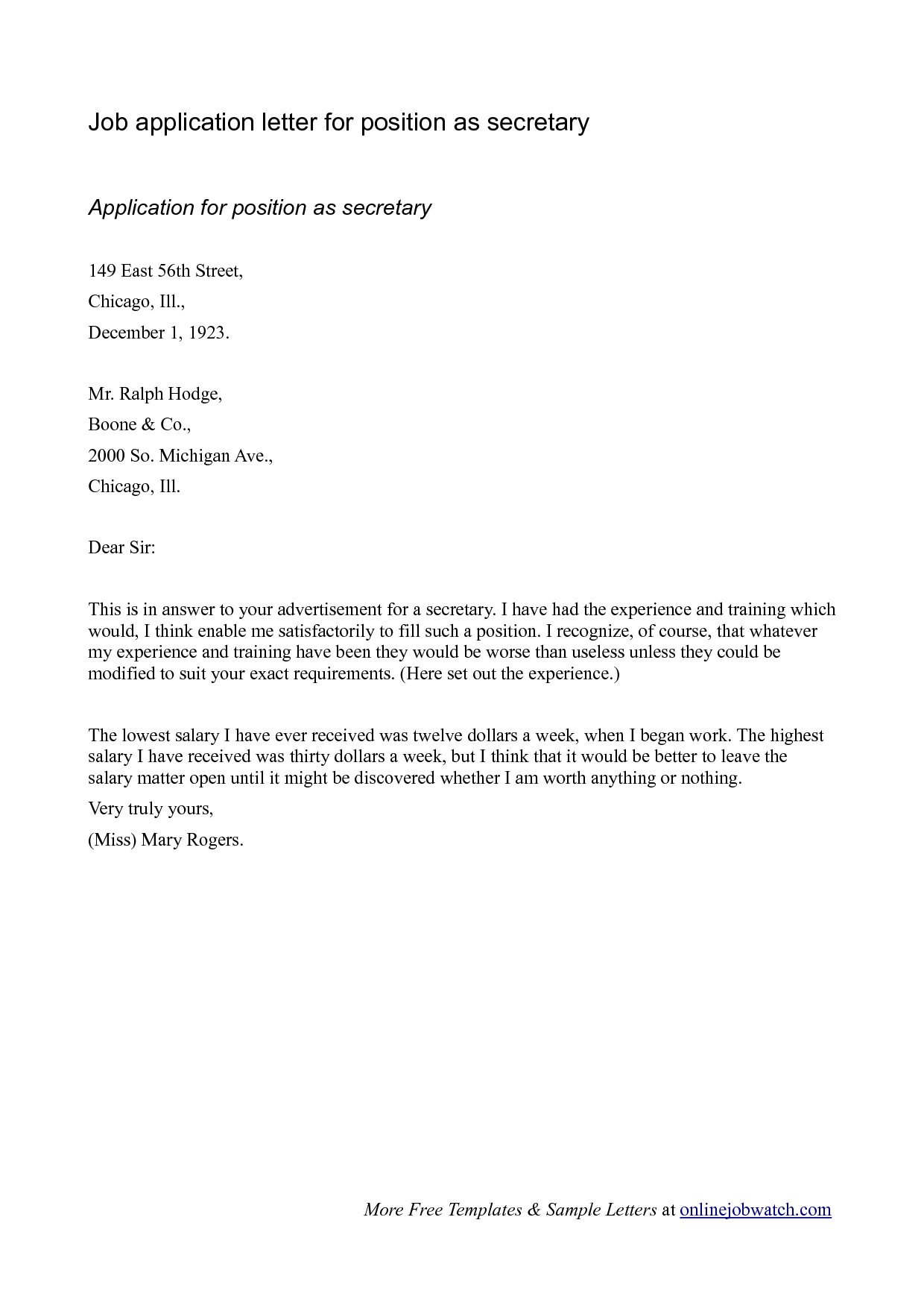 sample email job application letter pdf