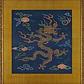 A rare brocade dragon badge, buzi, late ming dynasty, c. 1650