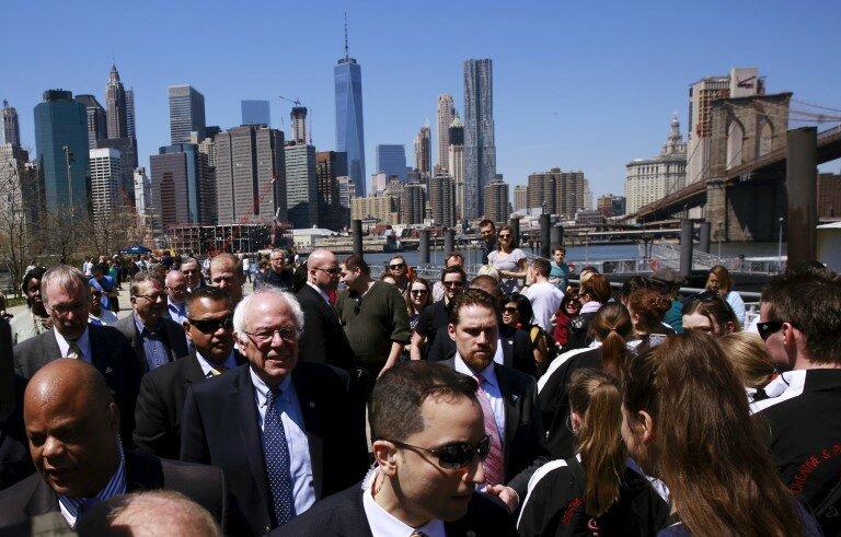 Bernie Sanders campaigning in Brooklyn