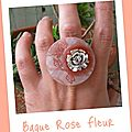 Bague fleur rose (B123)