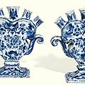 A pair of dutch delft blue and white tulip vases, early 18th century