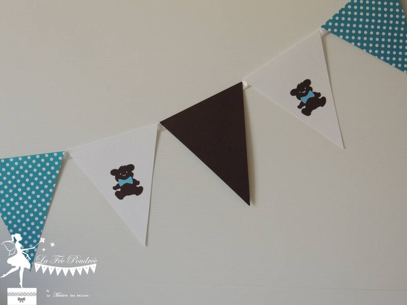 guirlande fanion decoration bapteme theme nounours chocolat turquoise tirelire2