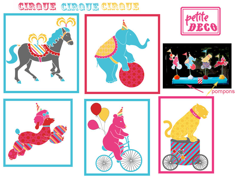 Theme place au cirque 1 et 2 et 3 doudous patrons patterns gabarits fete a themes - Decoration theme cirque ...
