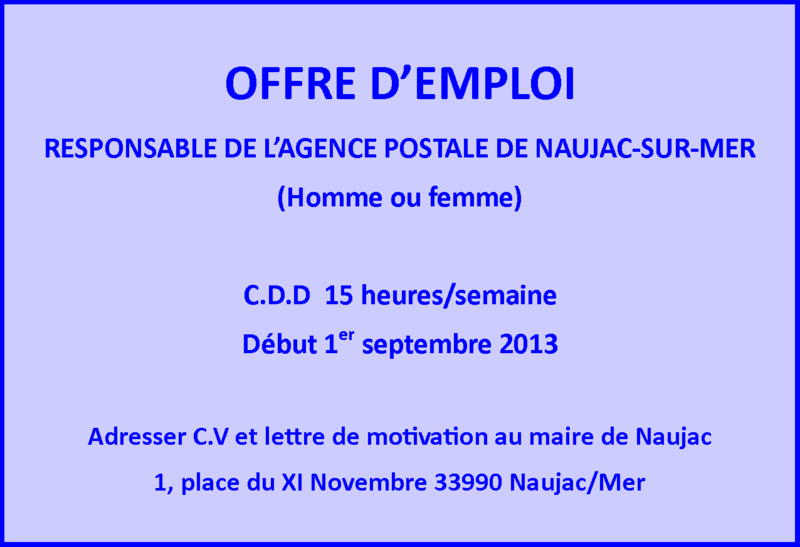 offre d 39 emploi commune mairie de naujac sur mer. Black Bedroom Furniture Sets. Home Design Ideas