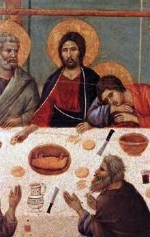 Détail de la Cène chez le Duccio