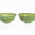 Large pair of spinach jade bowls, china, qianlong mark and period (1736-1795)