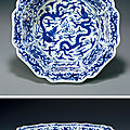A rare blue and white 'dragon' washer. Ming Dynasty, Mark and Period of Wanli (1573-1619)