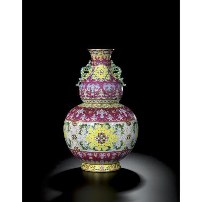 An Unusual Famille Rose Sgraffiato Double Gourd Vase