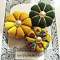 ♥ berenice ♥ broche textile esprit vintage fleurs potirons - les yoyos de calie