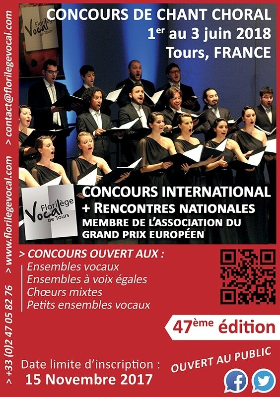 Concours International de Chant Choral / International Competition for Choral Singing : 47ème édition : du 1er au 3 Juin 2018