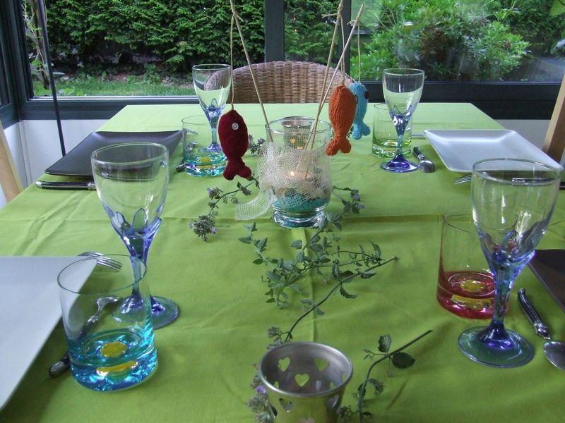 d co de table improvis e avec mes poissons tricot s l 39 atelier d 39 ang le. Black Bedroom Furniture Sets. Home Design Ideas
