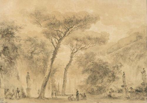 ean-Honoré Fragonard, Jardin aux pins parasols à Rome