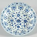 Blue-and-white dish with floral decoration, yongle period (1403 - 1425), ming dynasty (1368 - 1644)