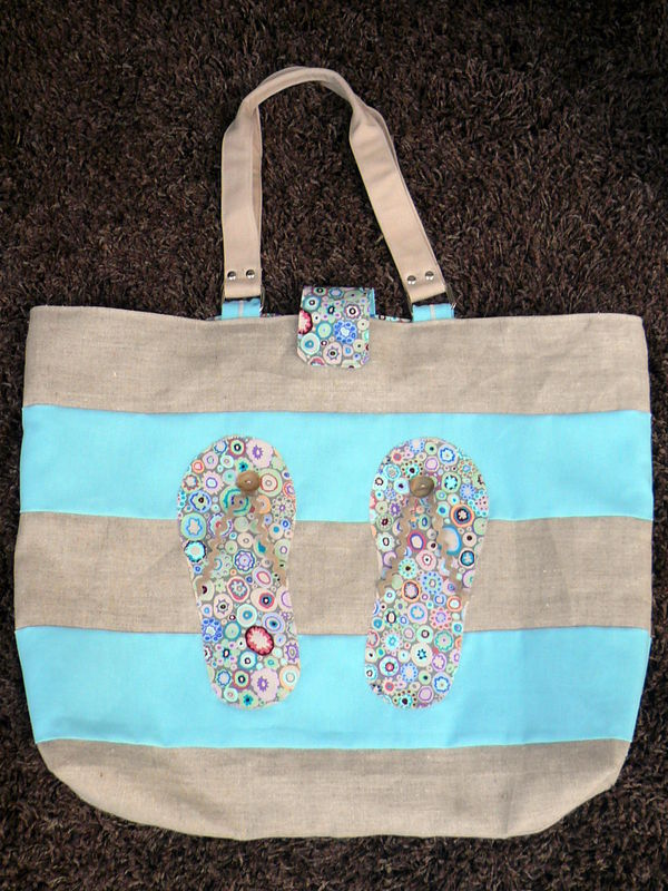 Sac plage lin et turquoise