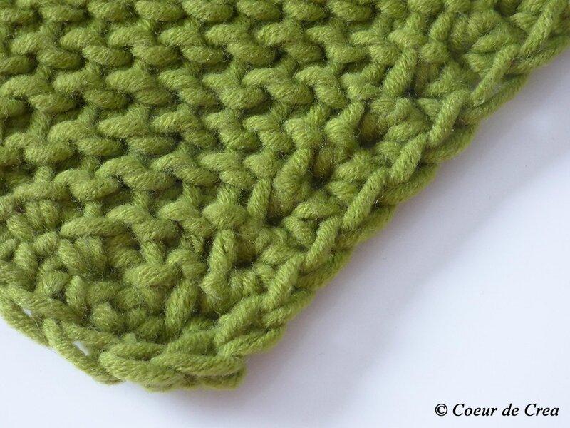 Snood vert au crochet tunisien - 2