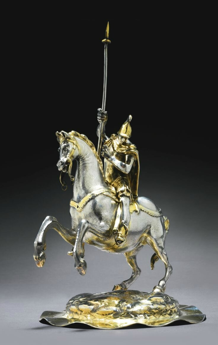 A German parcel-gilt silver equestrian figure of St. George, most probably Melchior Gelb I, Augsburg, circa 1640