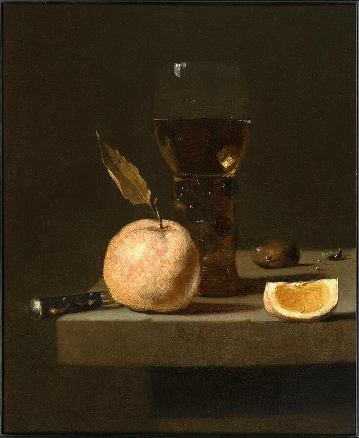 Juriaan van Streeck (1632 - Amsterdam 1687) ,Still Life with a Roemer, an Orange and a Chesnut
