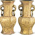 A pair of gilt-bronze hexagonal vases, ming dynasty, jiajing period