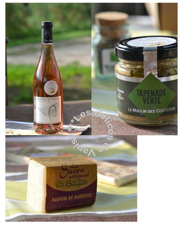 vin rosé, savon senteur garrigue, tapenade, olives vertes