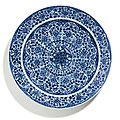 A blue and white 'floral' dish, qing dynasty, kangxi period