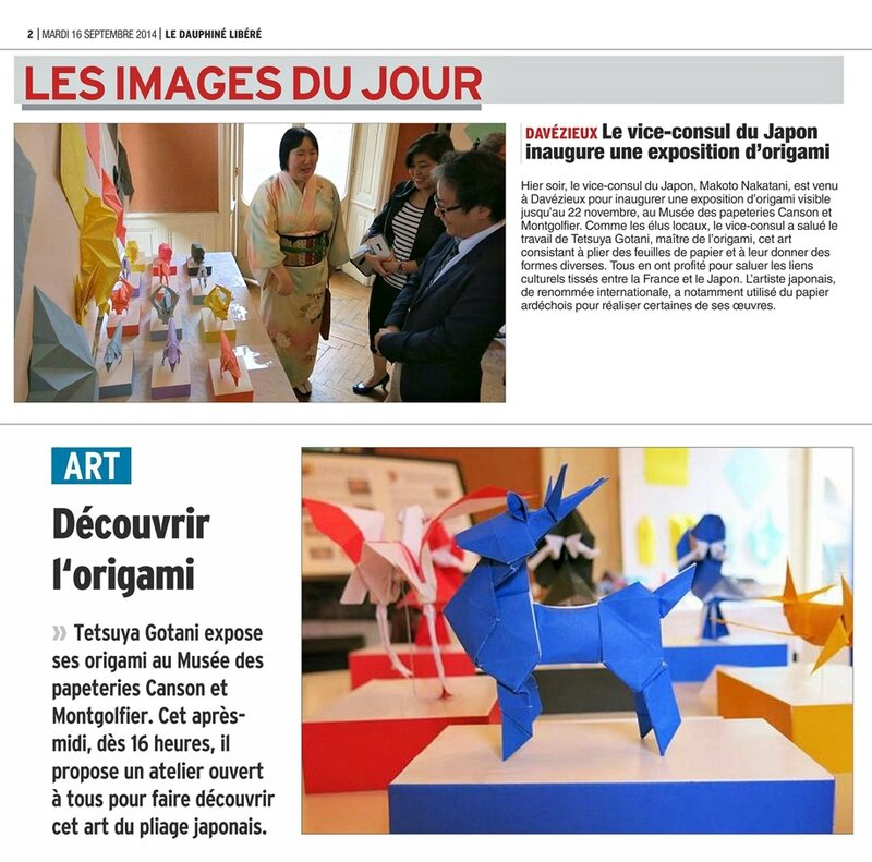 article de journal Le Reveil 19092014- Expo Origami au musee Canson