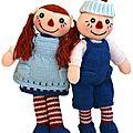 Raggedy dolls - ana et ela - twins