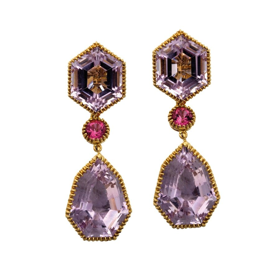 Pair of 18ct gold, amethyst and tourmaline 'Byzantine' drop earrings, Verdura