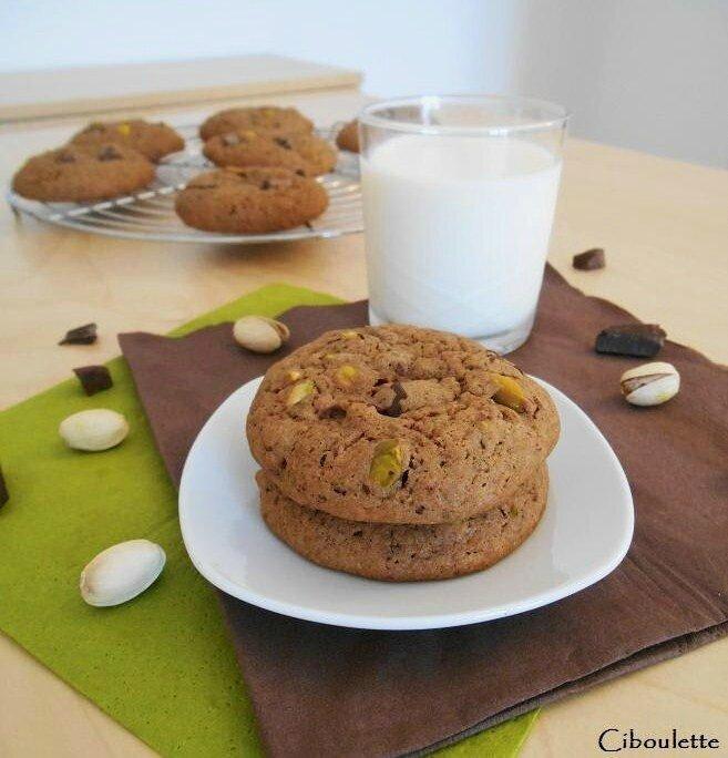Cookies aux deux chocolats & aux pistaches