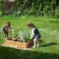 les enfants mettent des copeaux autour petits jardins.