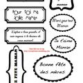 Etiquettes gratuites à télécharger et à imprimer pour le scrapbooking : fête des mères