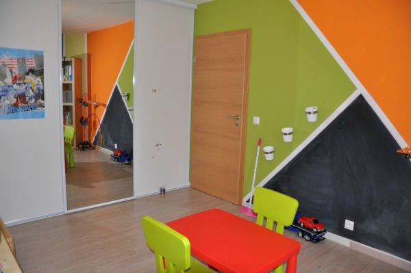 D co chambre orange et vert for Chambre ado noir et orange