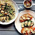 Déjeuner veggie {salade chou-fleur/lentilles/épinards et tartines chèvre-carotte-miel et chèvre-épinards miel}
