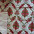 2047 ancien coupon tissu vintage ameublement motif ancien losanges