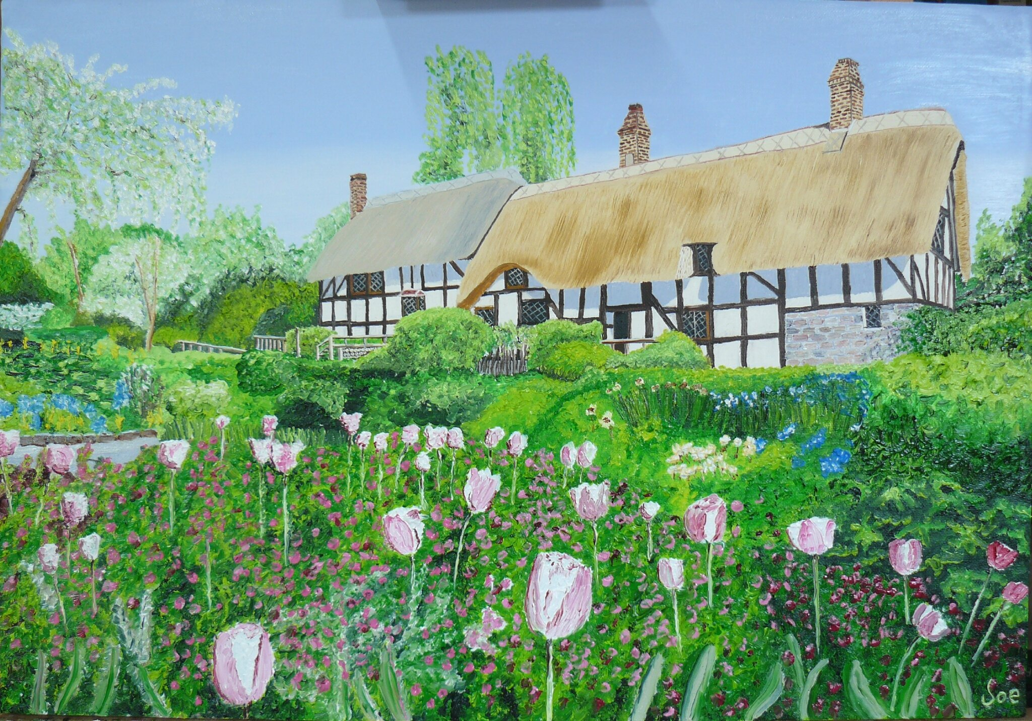 English Houses with Tulips,