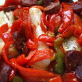 cabillaud aux poivrons et chorizo