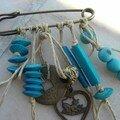 Pregadeira c/Alfinete em tons de Azul
