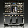 An italian pietre dure mounted ebony and palisander cabinet on stand, in 17th century style, florentine 19th century