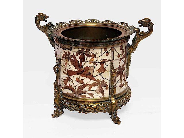 fernand duvinage pour giroux cache pot en bronze marquet d 39 ivoire et bois pr cieux et autres. Black Bedroom Furniture Sets. Home Design Ideas
