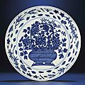 A fine large late Ming blue and white 'Flower basket' dish, Wanli six-character mark within double-circles and of the period (1573-1619)
