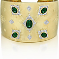 BUCCELLATI.. An Important Emerald and Diamond Gold Cuff Bracelet
