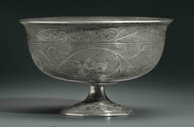 A small silver stem cup, China, Tang dynasty (AD 618-907)