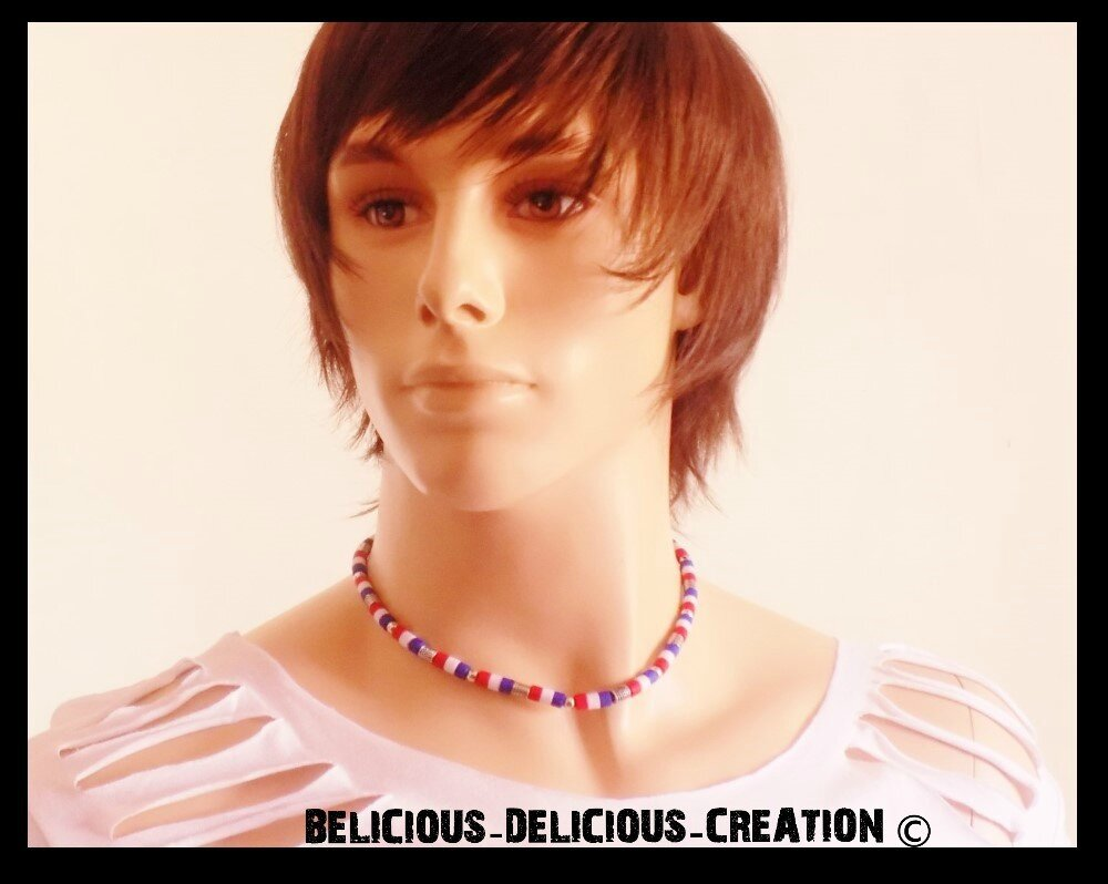 Original Collier sufer Homme !! RED WHITE BLUE !! en Metal silicone. collier long 42cm BELICIOUS-DELICIOUS-CREATION