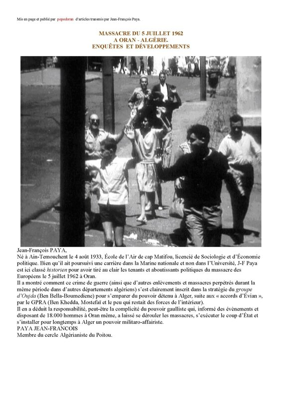 Synthese du massacre d 39 oran du 5 juillet 1962 popodoran for Piscine du 5 juillet alger