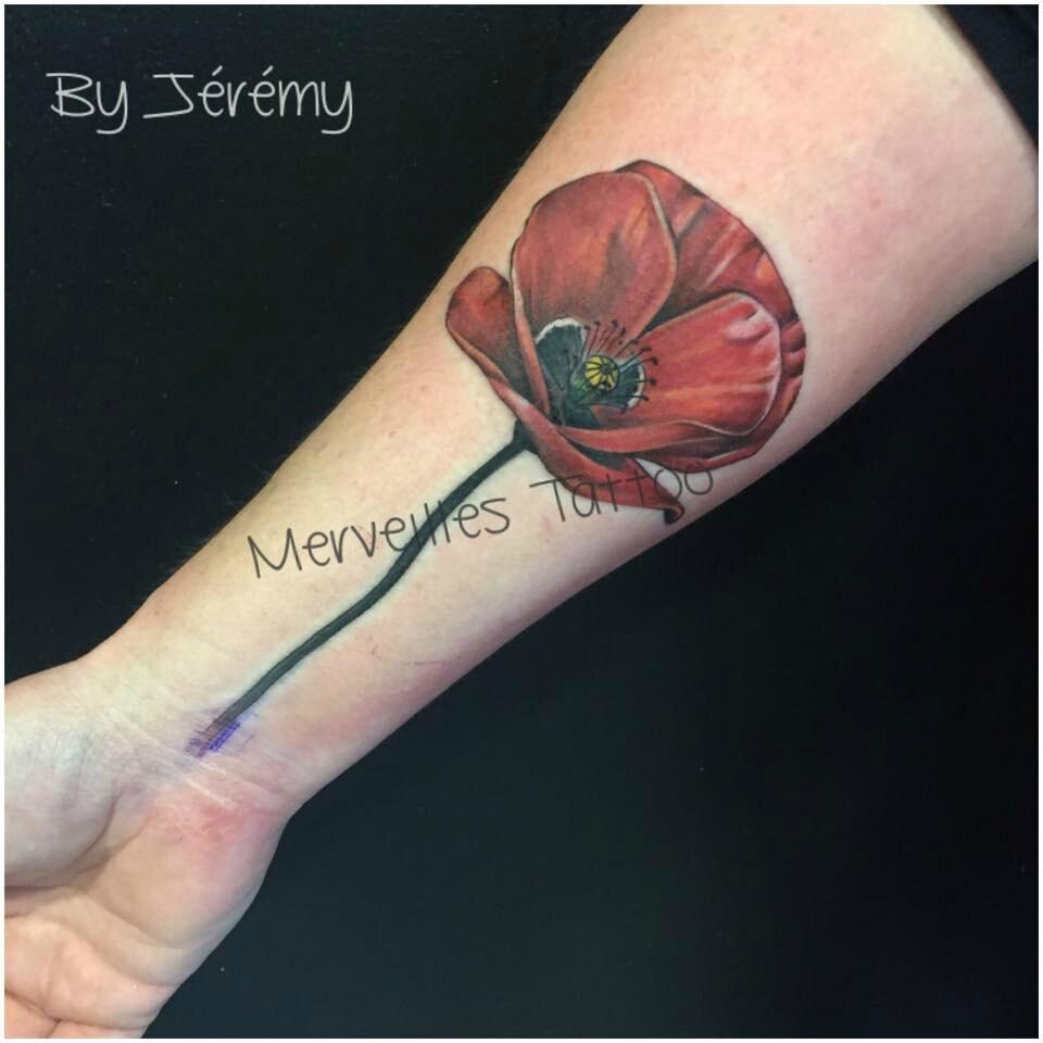 Tattoo coquelicot en couleur réalisé par Jérémy