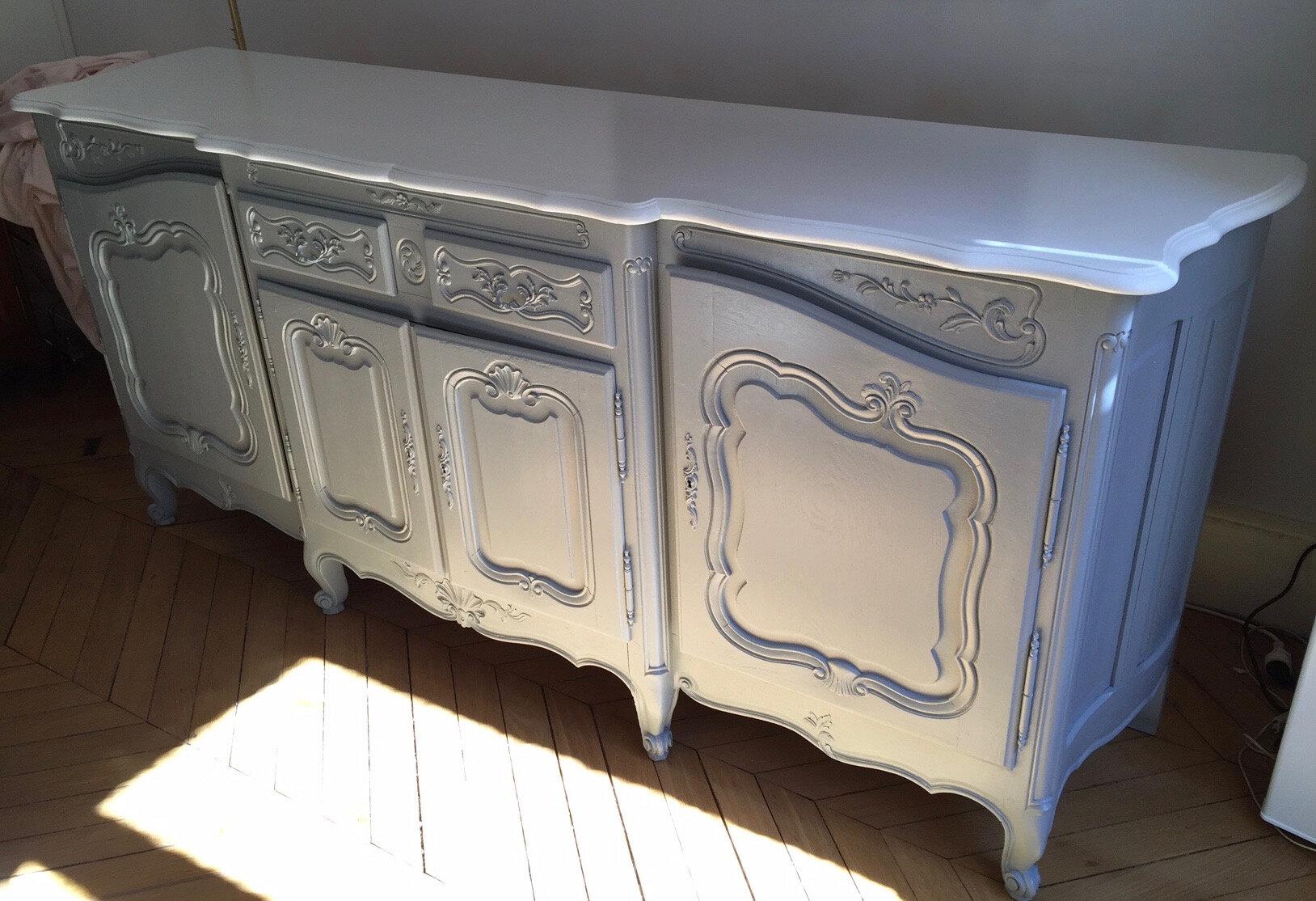 buffet gris ancien r novation la demande la petite. Black Bedroom Furniture Sets. Home Design Ideas