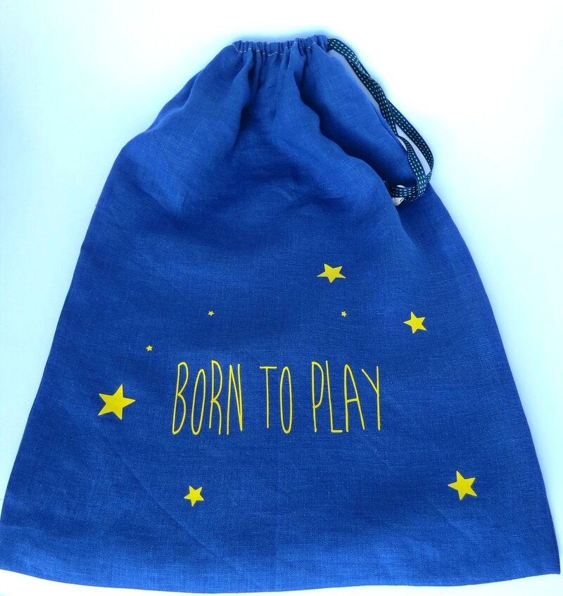 Big sac en lin bleu _Born to play_