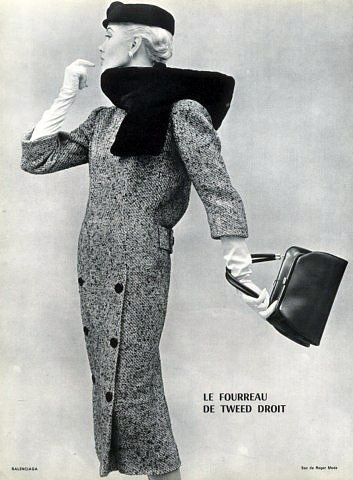 Le fourreau de tweed droit, Balenciaga 1955