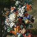 Jan van huysum (holland, 1682-1749), bouquet of flowers in an urn, 1724