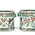 A pair of famille verte wine coolers, Kangxi period (1662-1722)